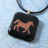 Hand Painted Horse Necklace on Black Satin Cord, Cowgirl Jewelry, Horse Jewelry - Pronto - 4321 -3