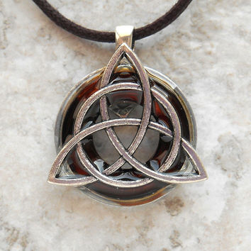 triquetra necklace: root beer - mens jewelry - celtic jewelry - mens necklace - irish jewelry - boyfriend gift - unique gift - fathers day
