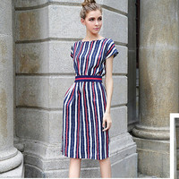 Vertical Stripes Cap Sleeves with Belt Sheath Dress