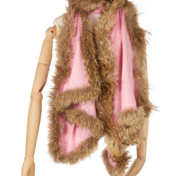 Cashmere Fur Trimmed Scarf Baby Pink