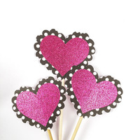 Polka Dot Glitter Heart Cupcake Toppers - 12 Black, White, Pink, Valentine's Toppers - Valentine's Day Decor // Birthday Party