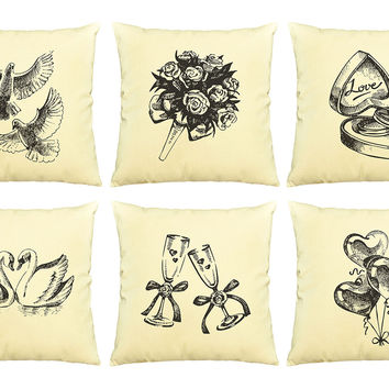 Wedding hand drawing  Printed   Pillows Cover Cushion Case VPLC_03
