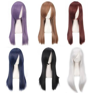 Fashion Cheap 60cm Long Straight Wig Cosplay Anime Heat Resistant Synthetic Hair Purple Blue Brown Black White Wigs For Women