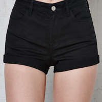 PacSun Black Libby High Rise Super Stretch Denim Shorts at PacSun.com