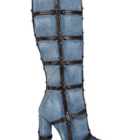 Tom Ford - Patchwork denim and leather knee boots