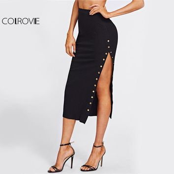 COLROVIE Studs High Slit Sexy Pencil Skirt Women Black Elegant Empire Slim OL Midi Skirts Fashion Work Long Skirt
