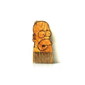 Homer Simpson Beard Comb ~ The Simpsons ~ Shaped Wooden Mustache Comb For Men For Him Gift Gift for Him Husband Gift Friend Gift