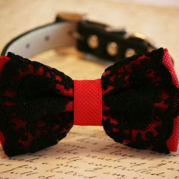 Red dog Dog Bow Tie with Black Lace, Dog Birthday Gift, Red Lovers