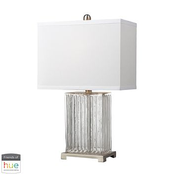 Ribbed Clear Glass Table Lamp in Brushed Steel - with Philips Hue LED Bulb/Dimmer
