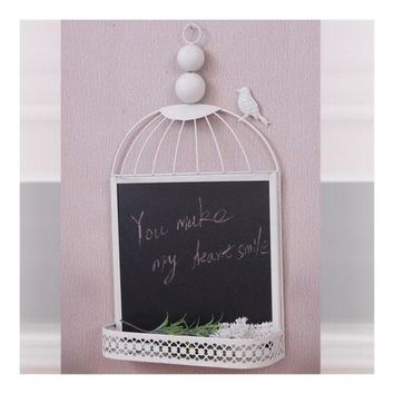 Zakka Metal Hang Type Small Blackboard Iron Bird Cage Message Board
