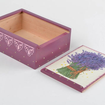 Handmade decorative wooden tea box decoupage Provence style Lavender present
