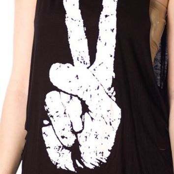 Peace Sign Tank Top - Black from Casual & Day at Lucky 21 Lucky 21