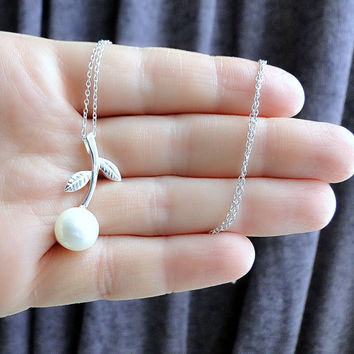 PRE-ORDER pearl necklace, fresh water pearl necklace, bridesmaid pearl pendant, sterling silver pendant, tree branch necklace, silver branch