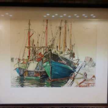 Picture Vintage Original Signed Boston Fishery Art Collectible Approx 18 x 16