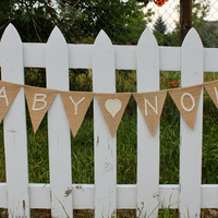 Baby Announcement, Baby Name, Burlap Banner, Pregnancy, Bunting, Garland