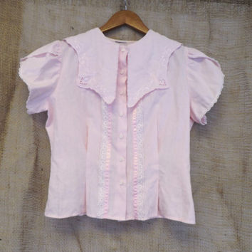 Vintage 1920's Style Pale Pink Lace Blouse Boho Prairie Sailor Shirt Pioneer Top Nautical School Girl Size Small Petite Victorian Edwardian