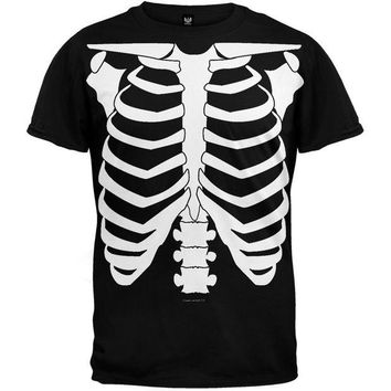 DCCKIS3 Halloween Skeleton Glow In The Dark Costume T-Shirt