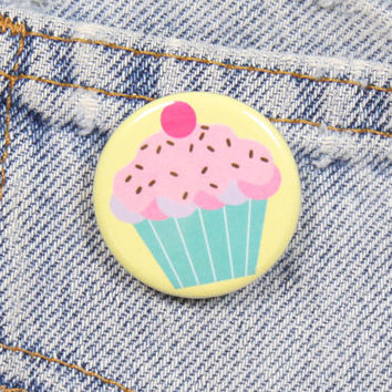 Cartoon Cupcake 1.25 Inch Pin Back Button Badge