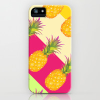 Tropical Pineapples iPhone & iPod Case by Ornaart
