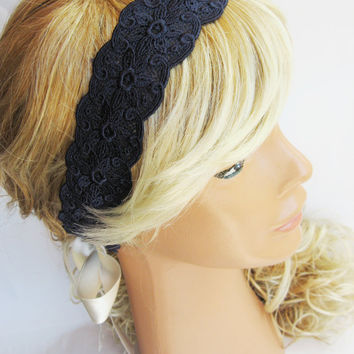 Navy Blue, ivory, Lace Headband, vintage style romantic headband, wedding headband, bridesmaid headband, women headband, bandana