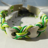 Summer Gift Cute Tiny Style Green Cotton Cords and Nature Soft White Leather Braid Woven Together Stylish Adjustable Wrap Bracelet C-57