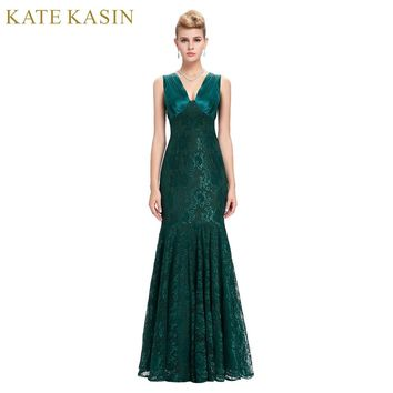 Kate Kasin Lace Evening Dresses Long Party Dress Robe de Soiree Green Blue Mother of the Bride Dresses Mermaid Evening Gowns
