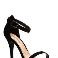 Anne Michelle Black Suede Single Sole Heels