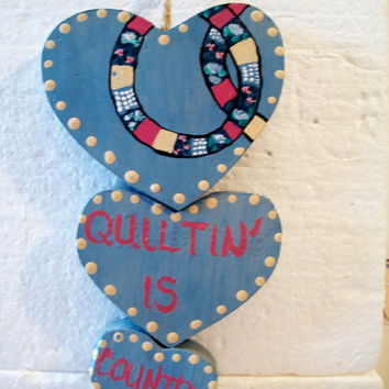 Vintage Quilting Is Country Heart Wall Hanging Plaque Valentines Day Farmhouse Retro Home Decor