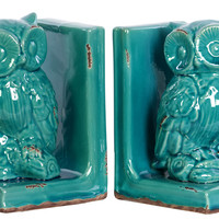 Stoneware Owl Bookend Assortment - Turquoise