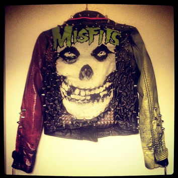 MISFITS Spiked Studded leather moto jacket. Custom and made to order.
