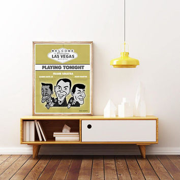 The RAT PACK - Frank Sinatra, Dean Martin & Sammi Davis JR. Las Vegas. Unique Poster. Limited Edition Print