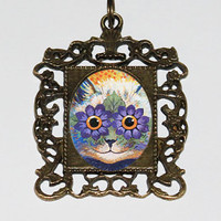 Trippy Cat Necklace, Louis Wain, Psychedelic, Flower Cat, Cat Jewelry, Rectangle Pendant