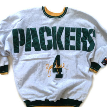 Packers - Green Bay Packers Crewneck Sweatshirt - NFL Brett Favre Quarterback Club Grey Sweatshirt