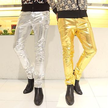 NEW in 2014 3 colors gold silver black PU Faux Fur leather man pants 3XL plus size for men's casual straight classic trousers