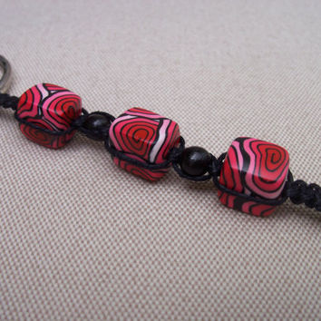 Macrame and Polymer Clay Keychain black and by FlowertownOriginals