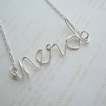 Silver Wire Necklace, Handwriting Necklace, Letter Word Name Necklace, Made in Sweden, Swedish Jewelry Design