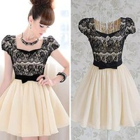 Diamond Bow Lace Dress BADG