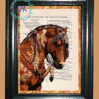 Sorrel Paint Indian War Pony - - Vintage Dictionary Book Page Art-Upcycled Page Art,Wall Art,Collage Art, Eagle Feathers, Pinto Horse