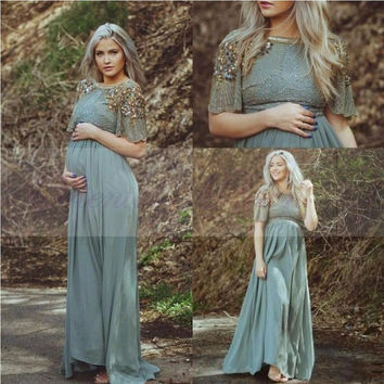 Teal Chiffon Long Maternity Evening Dress 2017 Turkish Islamic Muslim Formal Evening Gowns Party Prom Dresses for Pregnant Women