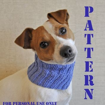 Knitted Blue Dog Cowl PATTERN  / PDF format Pattern /