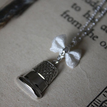 ON SALE Peter Pan Thimble Necklace