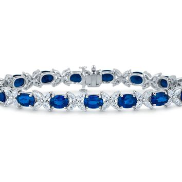 Sapphire and Marquise Diamond Bracelet in 18k White Gold (6x5mm) | Blue Nile