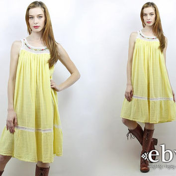Festival Dress Hippie Dress Hippy Dress Boho Dress Crochet Dress Summer Dress Yellow Dress Vintage 70s Yellow Floral Crochet Dress S M L