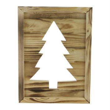"""13.75"""" Framed Rustic Wood Christmas Tree-Out Wall Hanging Decoration"""