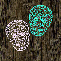 Sugar Skull Decal | Customized Decal | Car Vinyl Decal | Preppy Skull Decal | Personalized Vinyl Decal |  Sugar Skull Sticker | 188