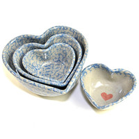Stoneware Heart Nesting Bowls (4 Pieces) - Country Farmhouse Kitchen Blue Spongeware Stone Pottery - Mixing, Pouring, Serving - Home Decor