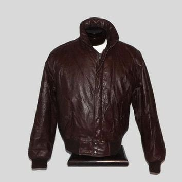 Sale Item Vintage Leather Members Only Cafe Removable Sherpa Lining Racer Bomber Jacket Coat with Zip Out Lining Size 46 L/XL