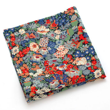 Liberty Coral & Blue Floral Pocket Square
