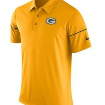 DCCKG8Q NFL Green Bay Packers Mens All Yellow Polo