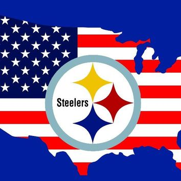 Pittsburgh Steelers 90x150cm polyester digital print American map flag banner with 2 Metal Grommets 3x5ft